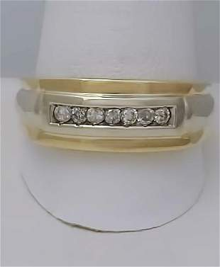TWO TONE 14k GOLD 1/4ct ROUND DIAMOND CHANNEL SET SOLID