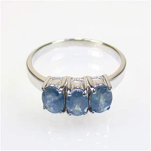 2.80 g 925 Sealed Silver Natural Blue Sapphire Ring
