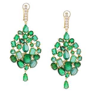 26.00 Carat Mixed Emerald and Diamond Dangle Earring 18