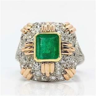 Estate 18k Gold & Platinum Emerald & Diamonds Ring