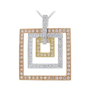 1.04 Carat Total Diamond Square Tri Tone Pendant in 14