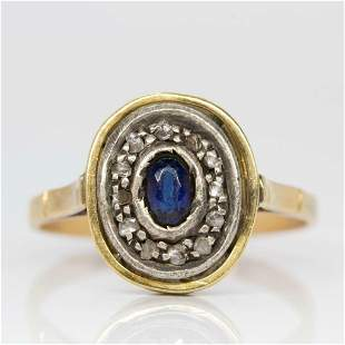Victorian 18k gold and Silver Sapphire and Diamond Ring