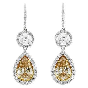 3.51 Carat Pear Shape Fancy Yellow Diamond Dangle