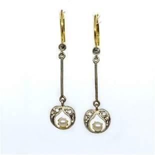 Antique Art Deco 18k and Platinum Diamond Earrings