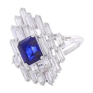 EG Lab Certified 2.62 Carat Emerald Cut Blue Sapphire