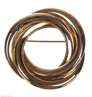 14 kt Gold Circular Love Knot Brooch