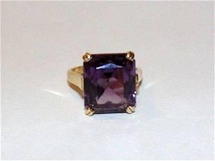 14 kt Gold Amethyst CZ Emerald Cut Cocktail Ring