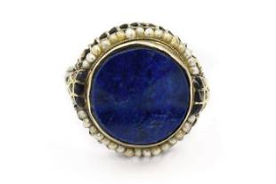 Victorian White Gold Lapis Lazuli and Natural Pearl