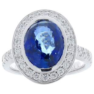 Emteem Lab Certified 5.02 Carat Oval Blue Sapphire and