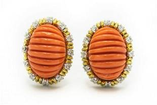 Estate Yellow Gold Diamond and Carved Coral Earrings