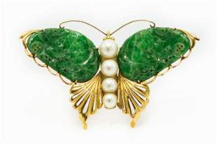 Estate 1950's Yellow Gold Jade and Pearl Butterfly