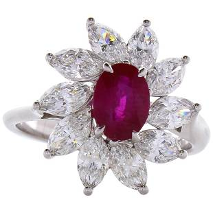1.26 Carat Oval Ruby and Marquise Diamond Cocktail Ring