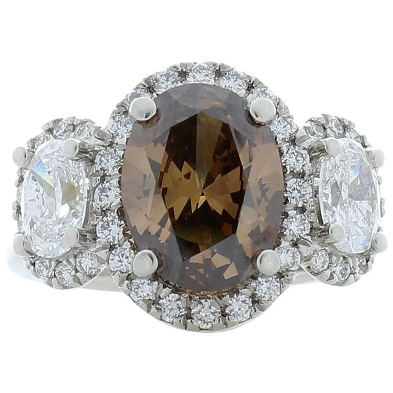 3.03 Carat Oval Fancy Brown Diamond Cocktail Ring in