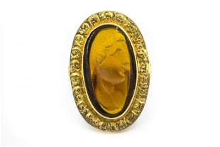 Estate Victorian Yellow Gold and Glass Ring