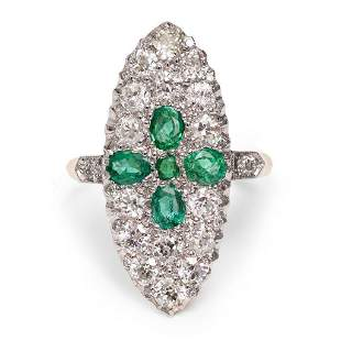 Victorian 18k gold and Platinum Emerald and Diamond