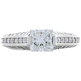 1.00 Carat Princess Cut VVV2 Diamond Cocktail Ring in