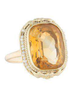 Victorian Yellow Gold Citrine and Pearl Ring