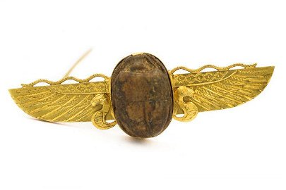 Victorian Yellow Gold and Carved Scarab Brooch Pin