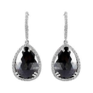 10.89 Carat Total Pear Shape Black Diamond Dangle