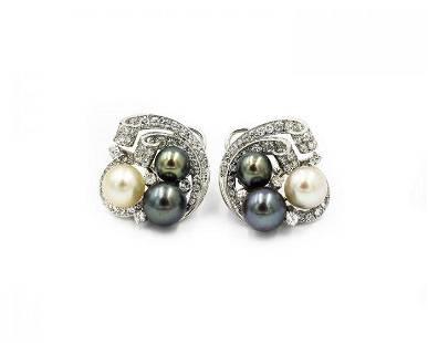 Contemporary White Gold Platinum Pearl and Diamond