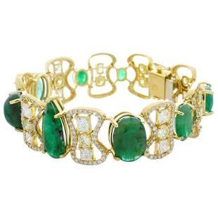 30.30 Carat Total Emerald and Diamond Bracelet in 18