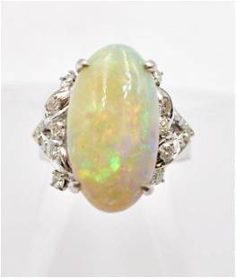 1970's White Gold Opal and Diamond Ring