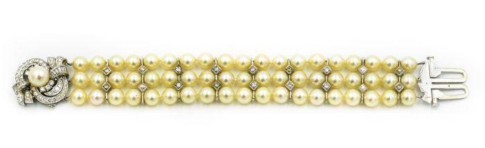 1960's Estate Platinum Diamond and Pearl Bracelet