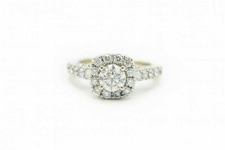 Estate Contemporary White Gold and Diamond Engagement