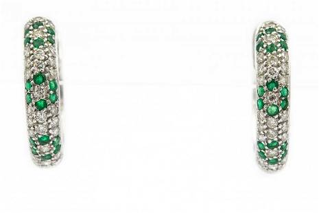 Contemporary White Gold Diamond and Emerald Hoop