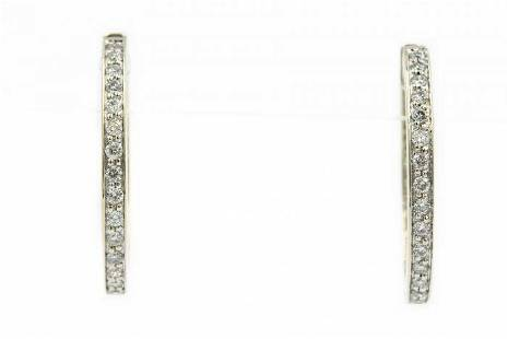 Contemporary White Gold and Diamond Hoop Earrings
