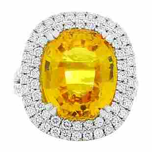 10.90 Carat Oval Yellow Sapphire and Diamond Cocktail