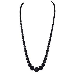 Victorian Whitby Jet Graduated Round Bead Necklace