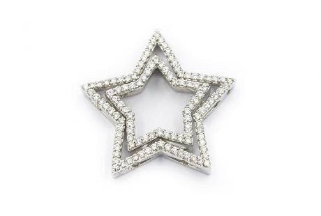 Contemporary White Gold and Diamond Star Pendant