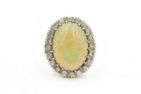 Estate Vintage 1960's Yellow Gold Opal and Diamond Ring