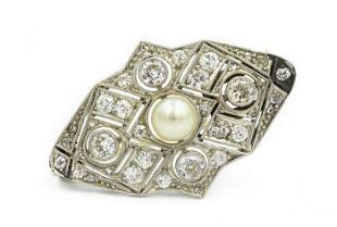 Art Deco Platinum Diamond and Pearl Brooch