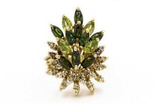 1970's Mikimoto Yellow Gold Diamond and Tourmaline