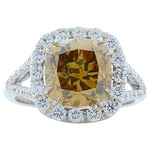 GIA Certified 4.01 Carat Cushion Fancy Brown Diamond