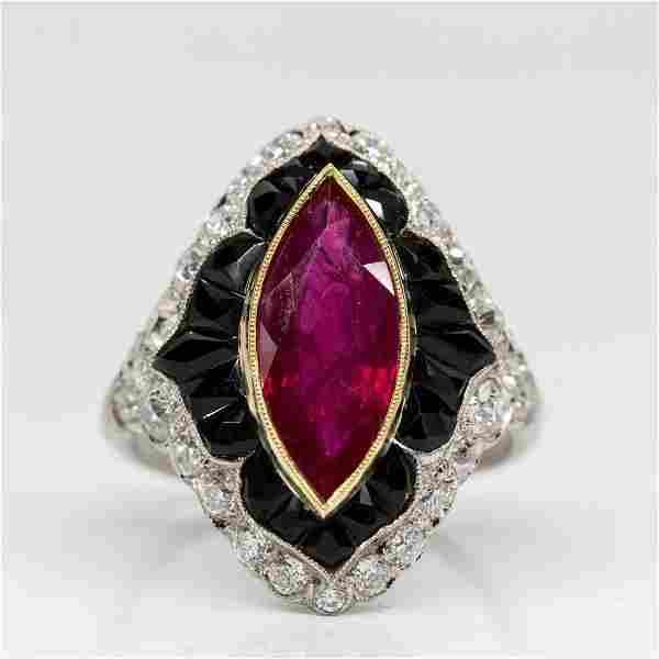 Handmade Platinum Ruby Diamond and Onyx Engagement Ring