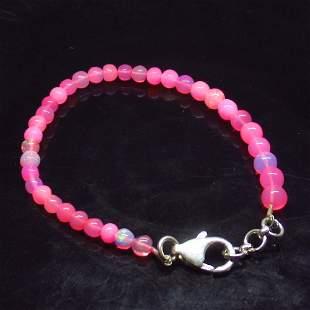 18.23 Ct 925 Silver 35 Pink Fire Opal Beads Bracelet