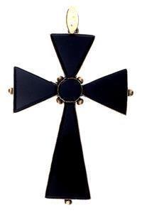 Victorian Yellow Gold Onyx Cross Pendant