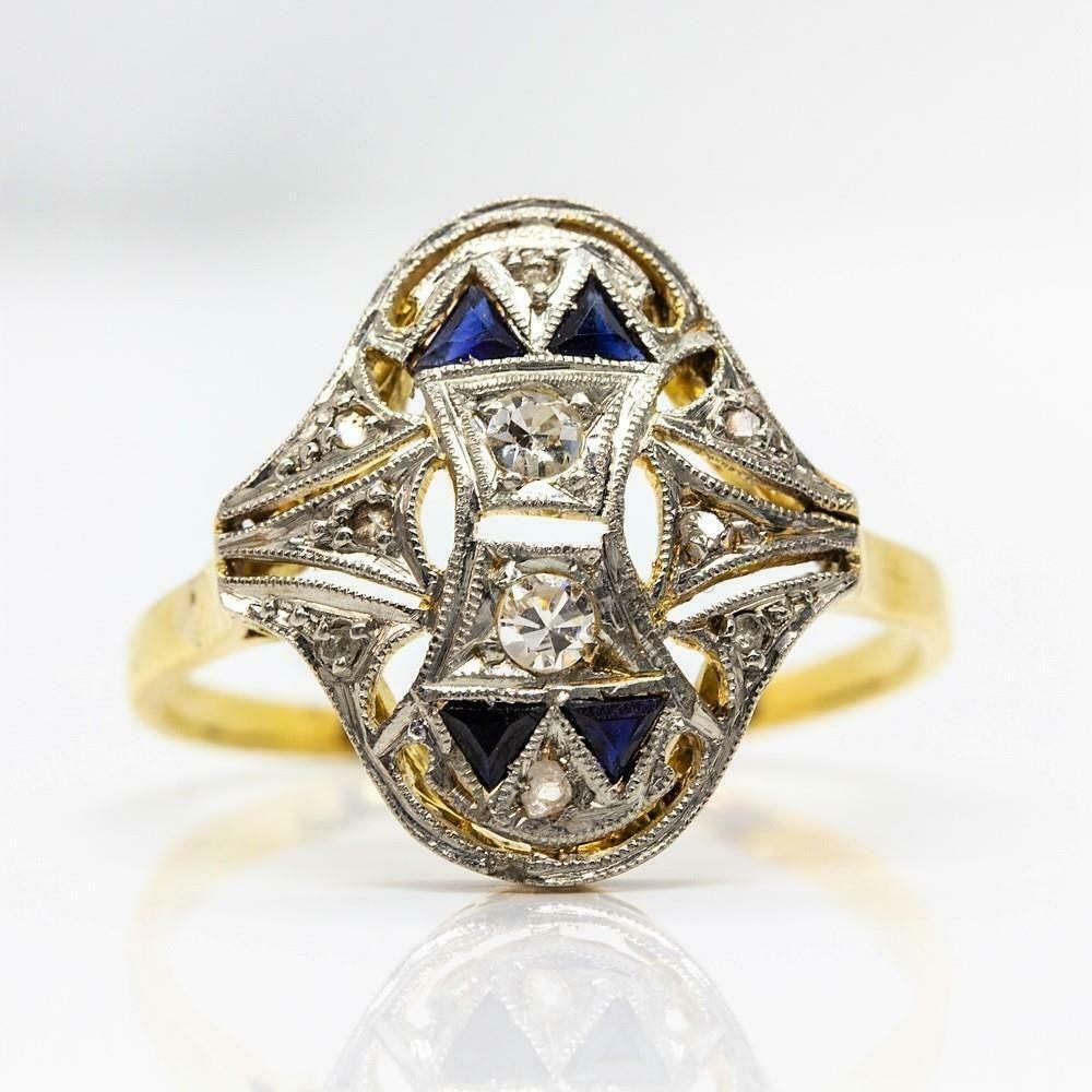 Antique Art Deco 18k Gold and Platinum Diamonds and