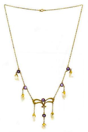 Art Nouveau Museum Quality Yellow Gold Amethyst and