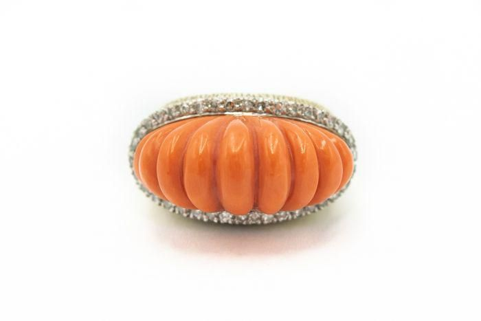 Estate Yellow Gold Diamond and Carved Coral Ring