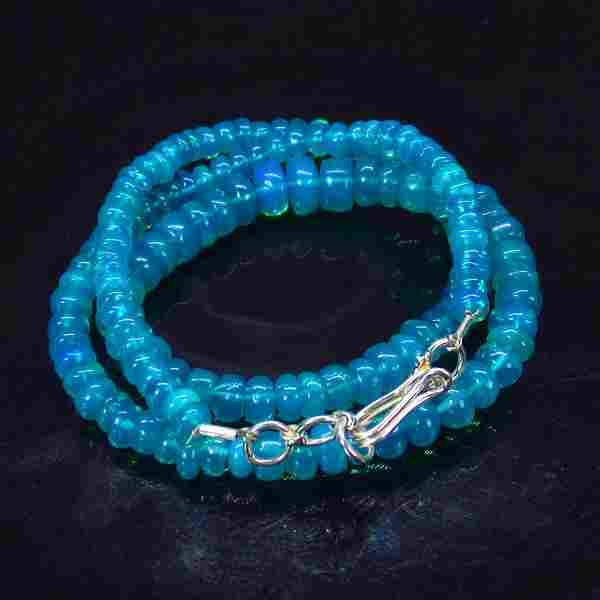 60.81 Ct 925 Silver 139 Blue Fire Opal Beads Necklace