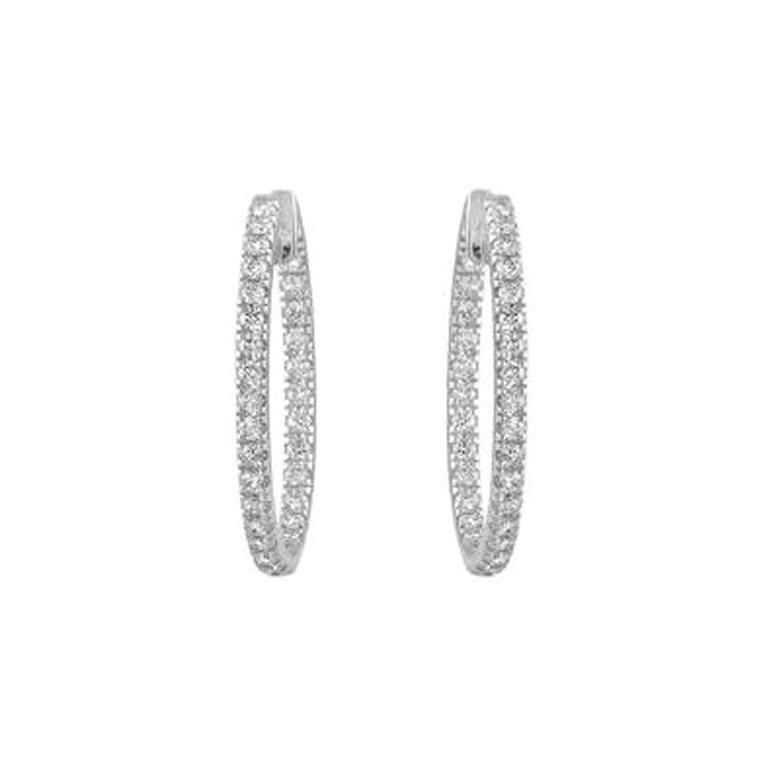3.51 Carat Total Diamond Trellis in and Out Hoops in 14