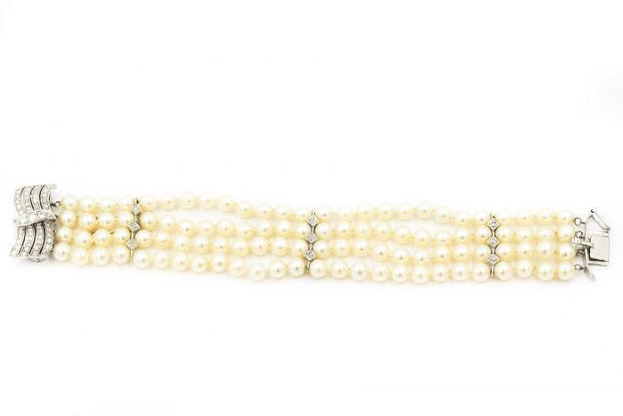 1950's White Gold Diamond and Cultured Pearl Bracelet