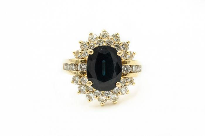 Estate Contemporary Yellow Gold Diamond and Sapphire