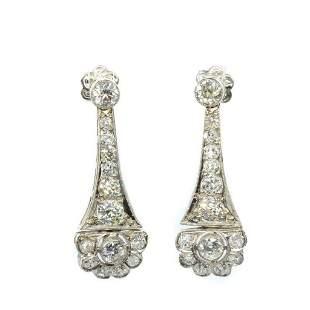 Original Antique Art Deco Platinum Diamond Earrings