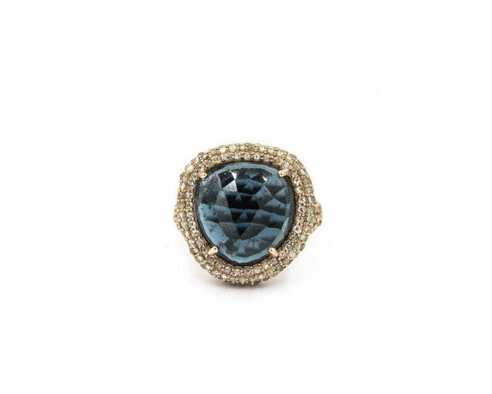 Contemporary Yellow Gold Diamond and Topaz Ring by