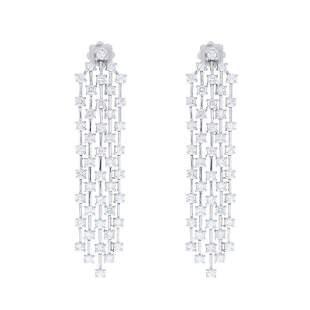 4.20 Carat Total Diamond Dangle Earrings in 14 Karat